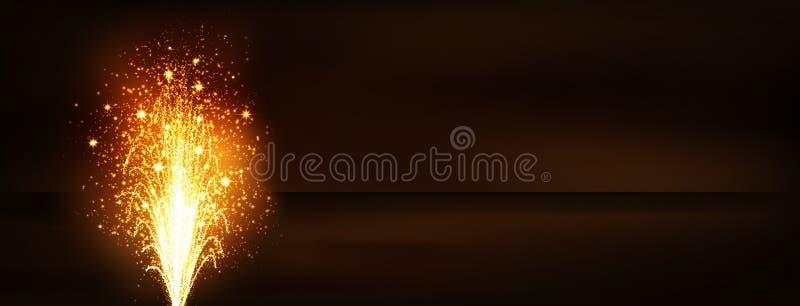 Fogo de artifício dourado Volcano Fountain Panorama Banner - véspera de anos novos ilustração royalty free
