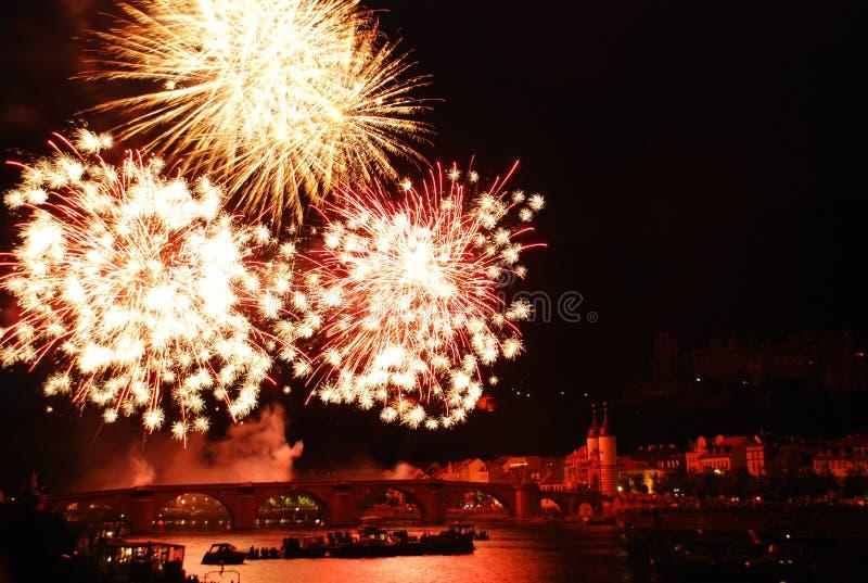 Fogo de artifício em Heidelberg foto de stock