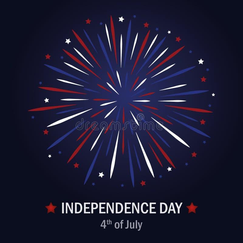 Fogo de artifício feliz dos EUA do Dia da Independência em cores azuis e vermelhas ilustração do vetor