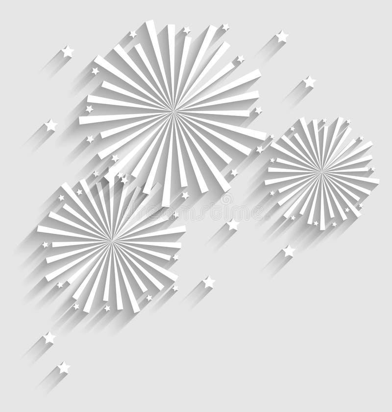 Fogo de artifício para eventos da celebração do feriado, sombra longa do estilo liso ilustração royalty free
