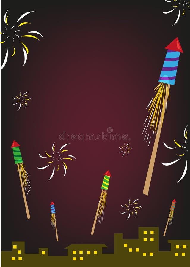 Fogo de artifício Rockets Explode em um céu noturno Clipart editável ilustração stock