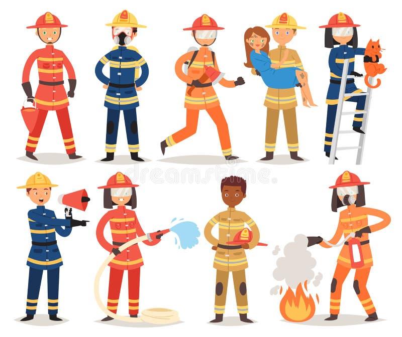 Fogo de combate ao fogo do caráter do bombeiro dos desenhos animados do vetor do sapador-bombeiro com boca de incêndio do firehos ilustração stock