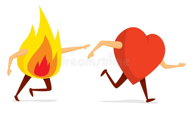 Fogo de corrida que persegue o coração ilustração stock