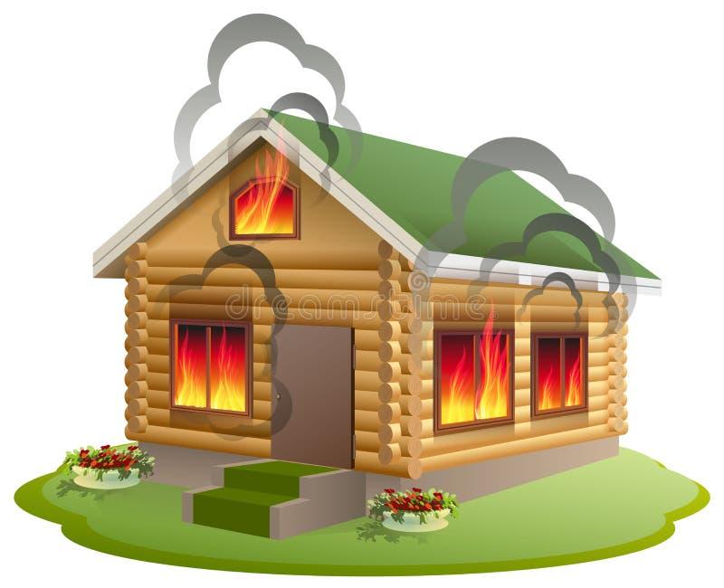 Fogo de madeira da casa Burning de madeira da casa Seguro da propriedade ilustração royalty free