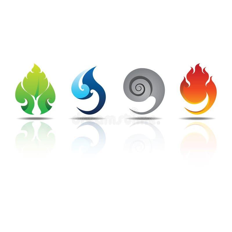 Fogo do ar da água da terra dos elementos dos ícones ilustração stock
