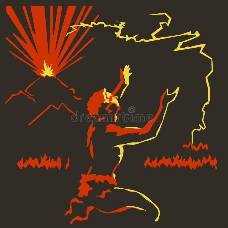 Fogo do vulcão ilustração royalty free