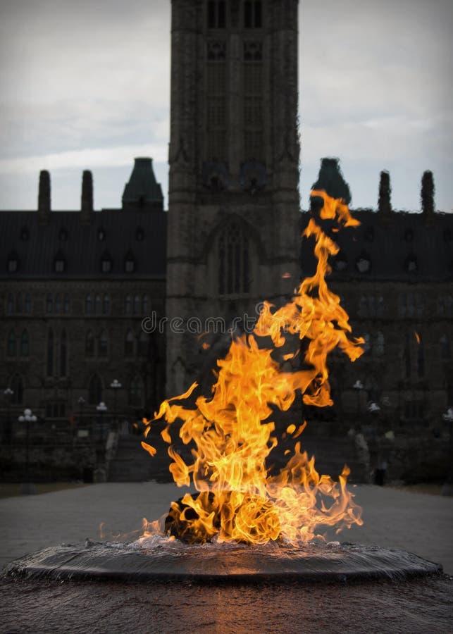 Fogo e água no memorial do monte do parlamento de Ottawa fotos de stock royalty free
