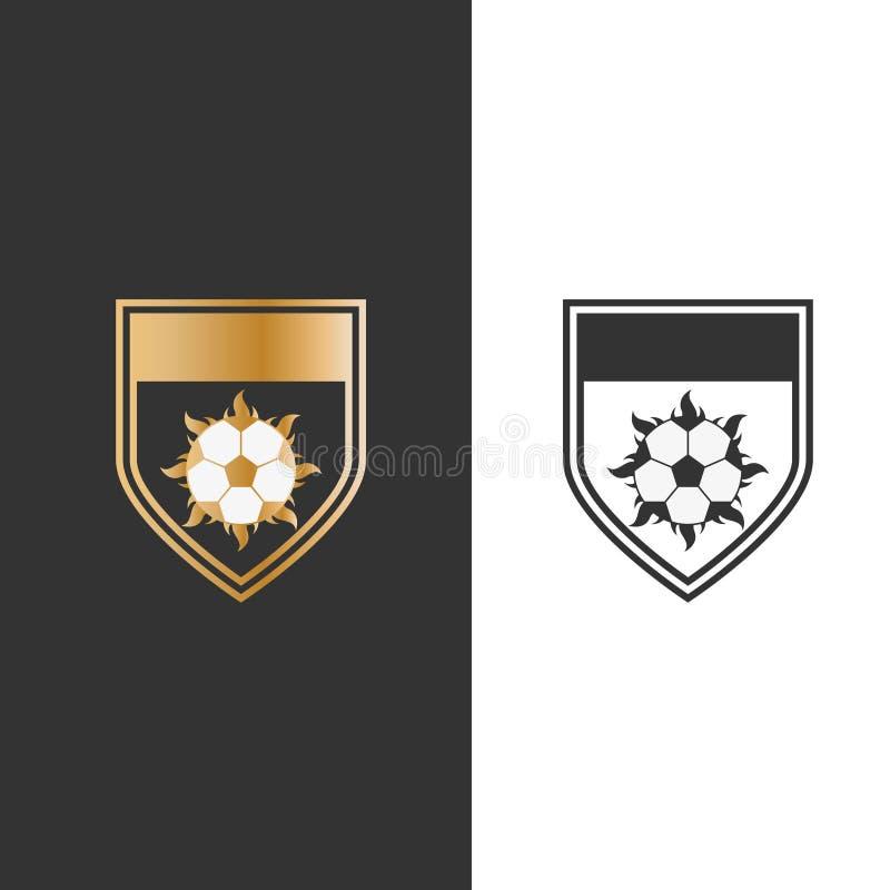 Fogo e bola do protetor da ilustração do vetor para o projeto do logotipo do ícone do esporte ilustração royalty free