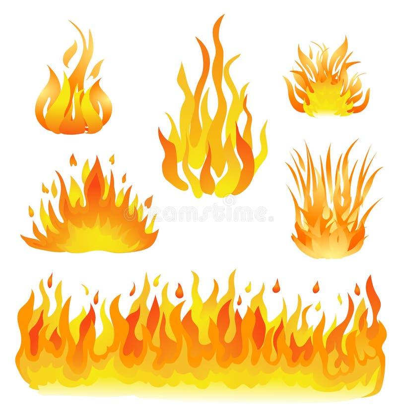 Fogo e ilustração ajustada chamas do vetor Elementos do projeto no branco ilustração do vetor