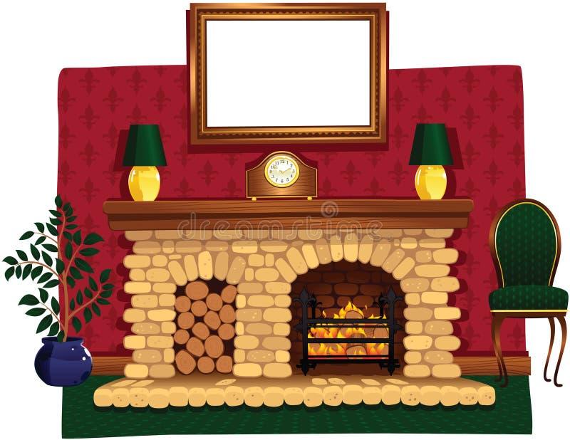 Fogo e lareira de log ilustração royalty free