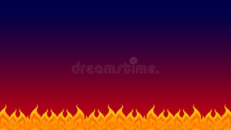 Fogo, fileira da chama na obscuridade azul vermelha do fundo do inclinação, quadro da fogueira, chama do fogo isolada na obscur ilustração do vetor