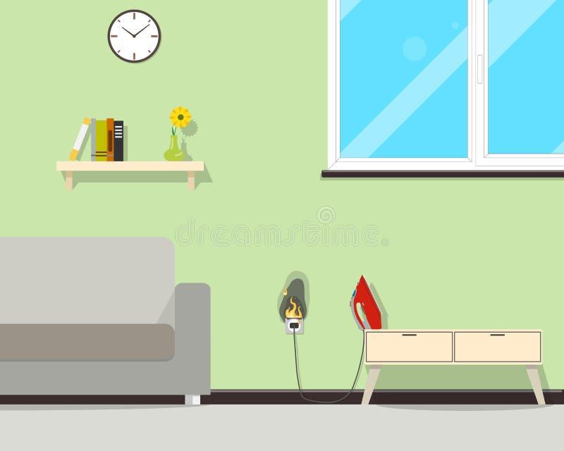 Fogo na casa ilustração royalty free