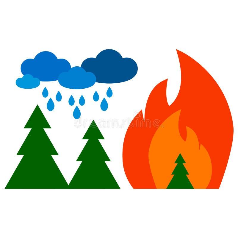 Fogo na floresta e nuvens com chuva imagem de stock