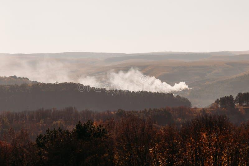 Fogo na floresta no terreno montanhoso no outono fotos de stock