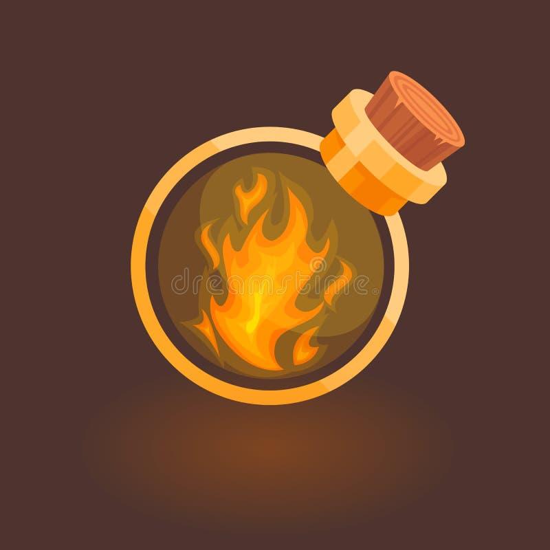 Fogo na garrafa ilustração stock