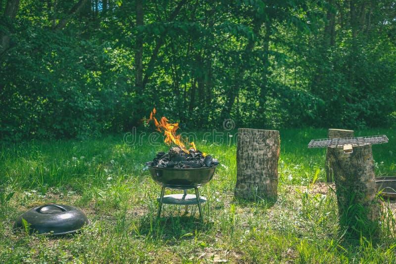Fogo na grade do carvão vegetal do assado Alimento do churrasco em um tipo s do weber fotografia de stock royalty free