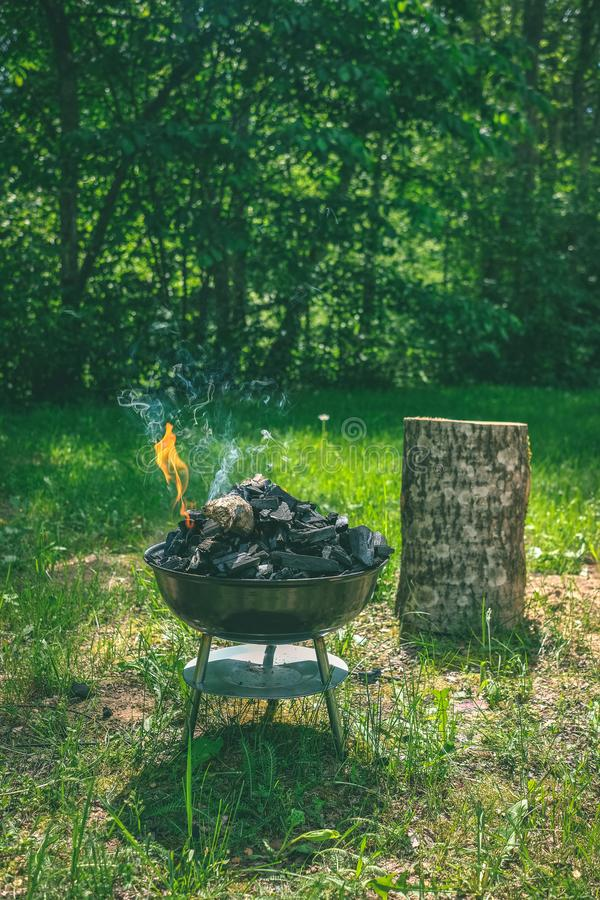 Fogo na grade do carvão vegetal do assado Alimento do churrasco em um tipo s do weber imagem de stock royalty free