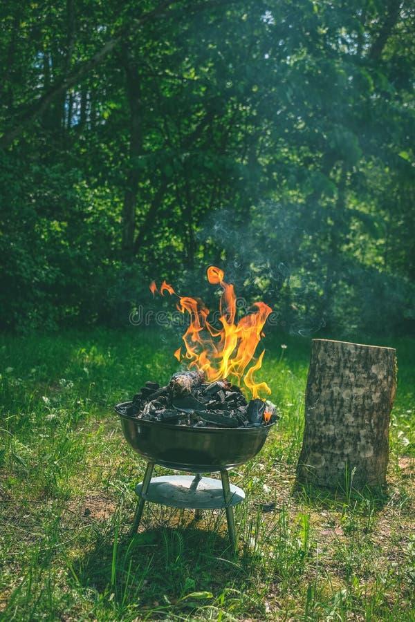 Fogo na grade do carvão vegetal do assado Alimento do churrasco em um tipo s do weber fotos de stock