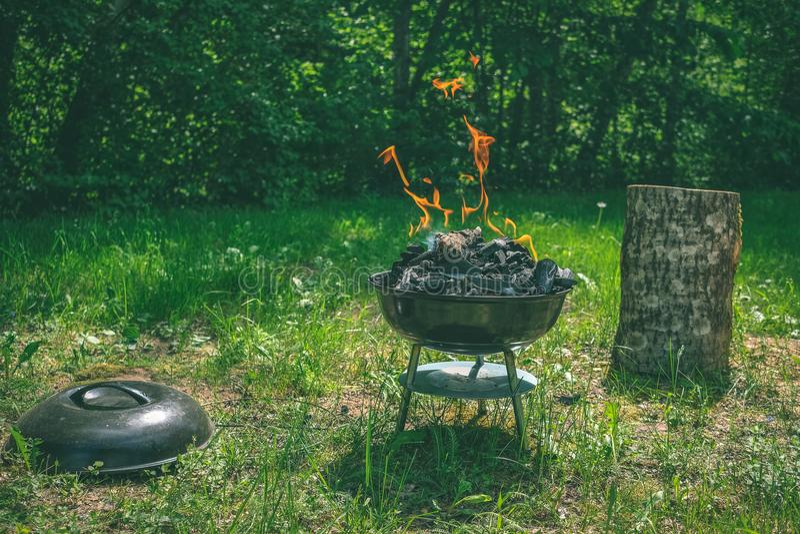 Fogo na grade do carvão vegetal do assado Alimento do churrasco em um tipo s do weber foto de stock royalty free