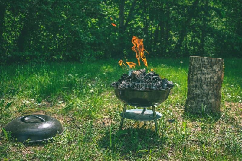 Fogo na grade do carvão vegetal do assado Alimento do churrasco em um tipo s do weber foto de stock