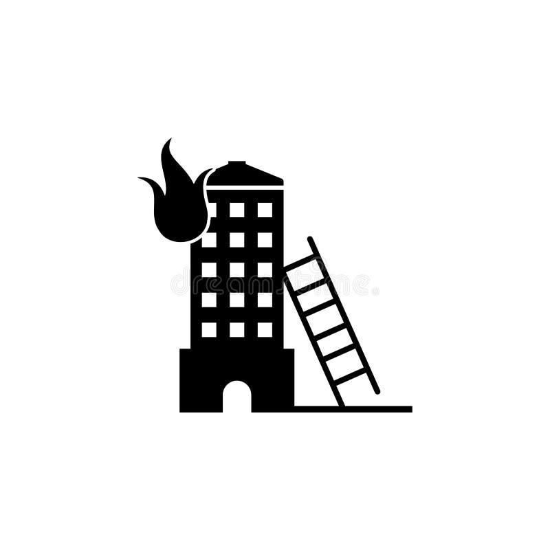 fogo no ícone da construção Elemento da loja do sapador-bombeiro para sinais de propaganda, o conceito móvel e os apps da Web íco ilustração royalty free