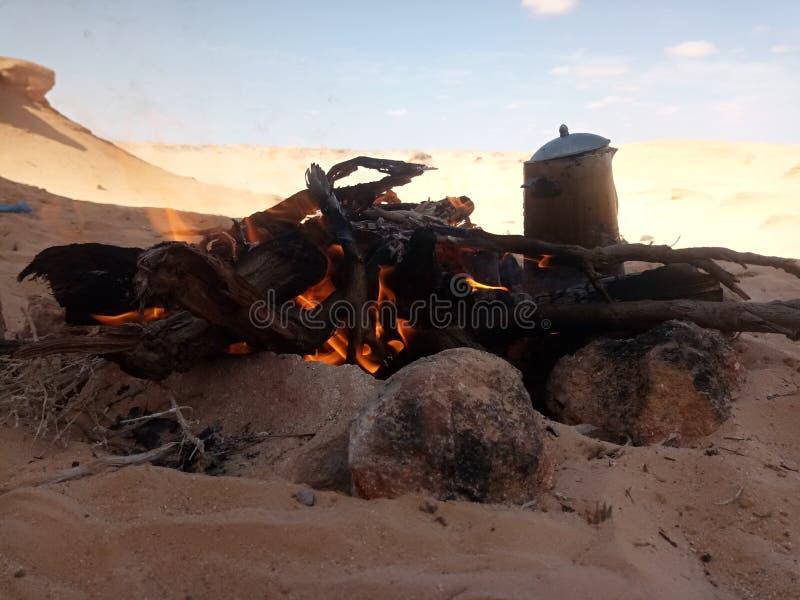 Fogo no deserto imagem de stock