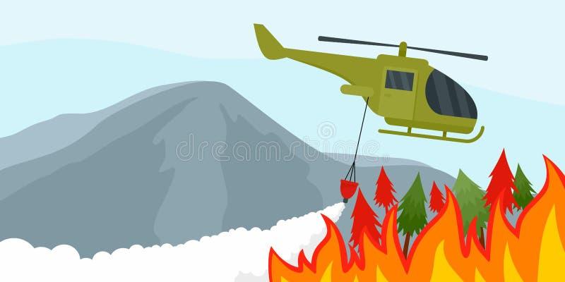 Fogo no fundo da floresta, estilo liso ilustração stock