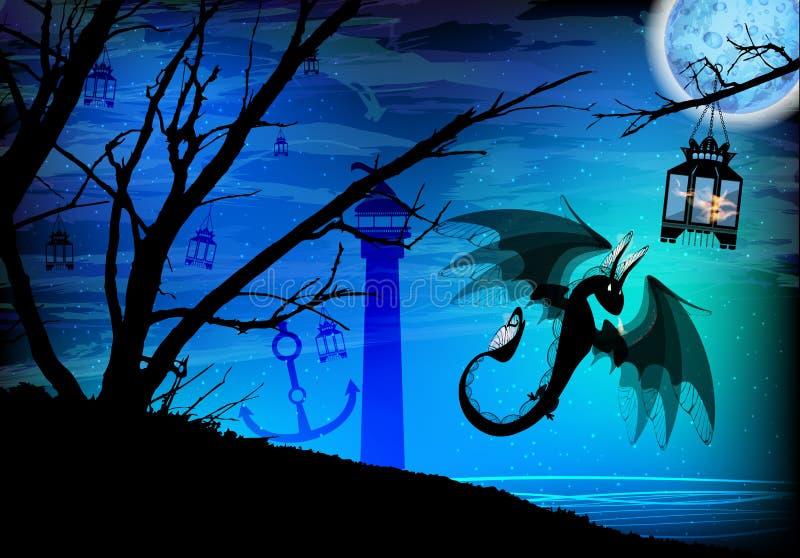 fogo preto do dragão em um porto quieto ilustração do vetor