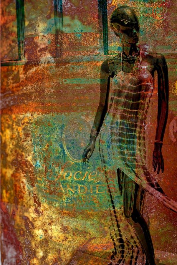 Fogo RETRO abstrato da oxidação do meta da exposição dobro de Manikan ilustração royalty free