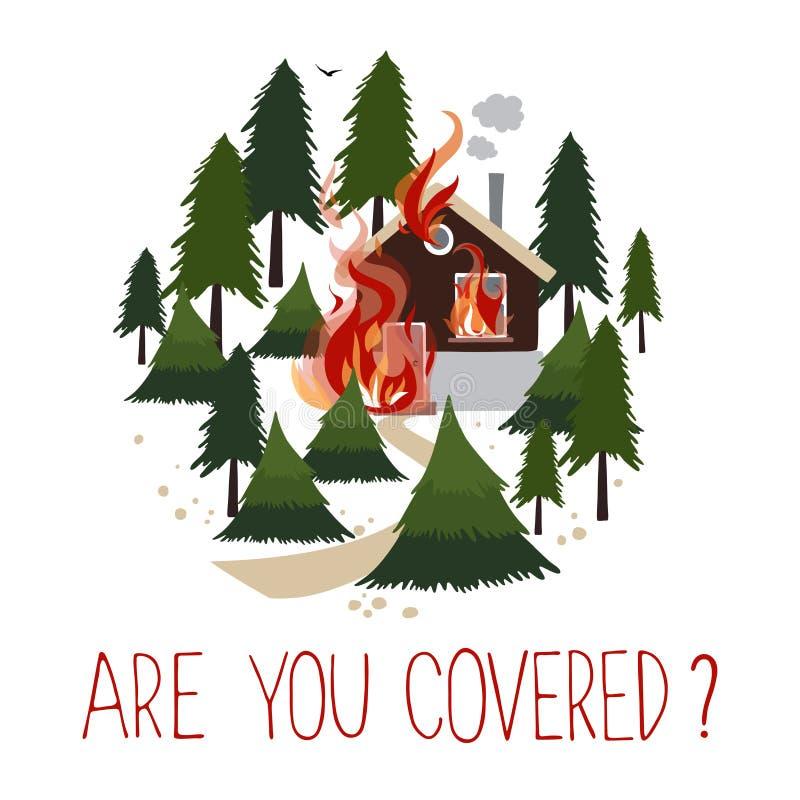 Fogo selvagem em uma casa ardente da floresta ilustração royalty free