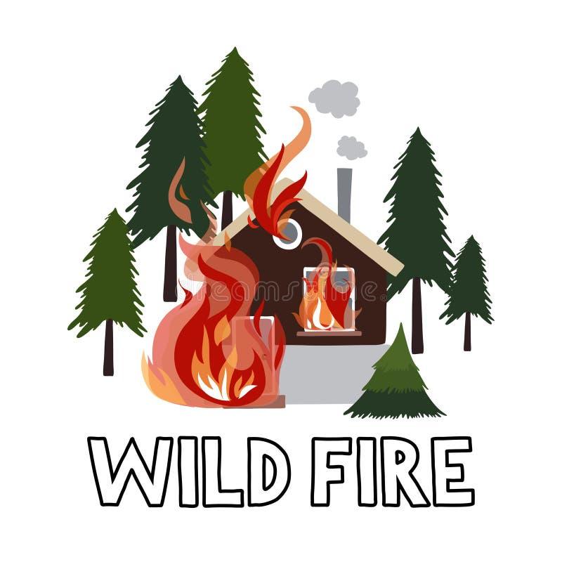 Fogo selvagem em uma casa ardente da floresta ilustração do vetor