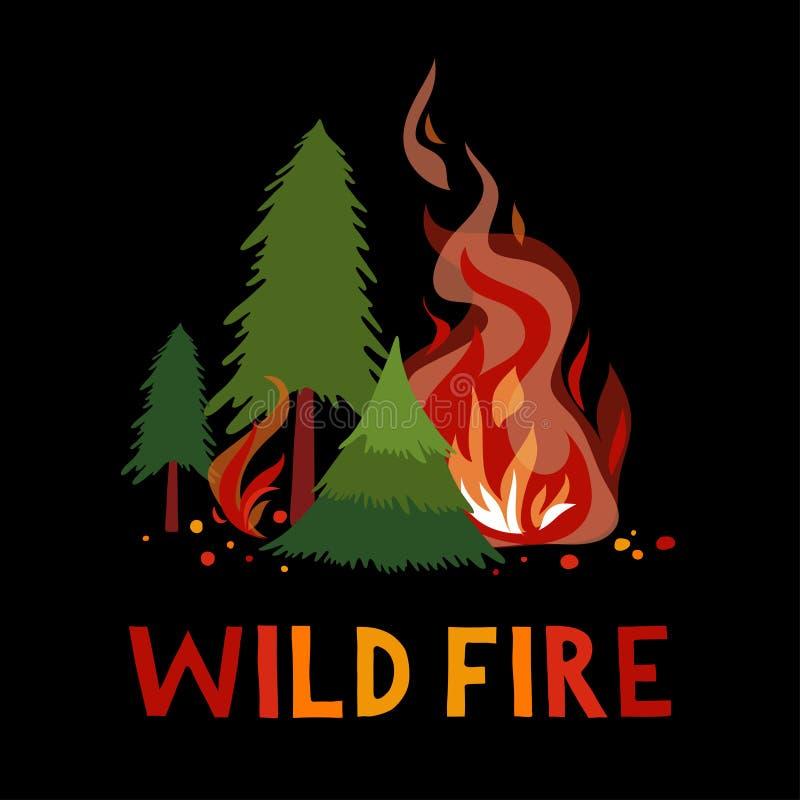 Fogo selvagem em uma floresta ilustração do vetor