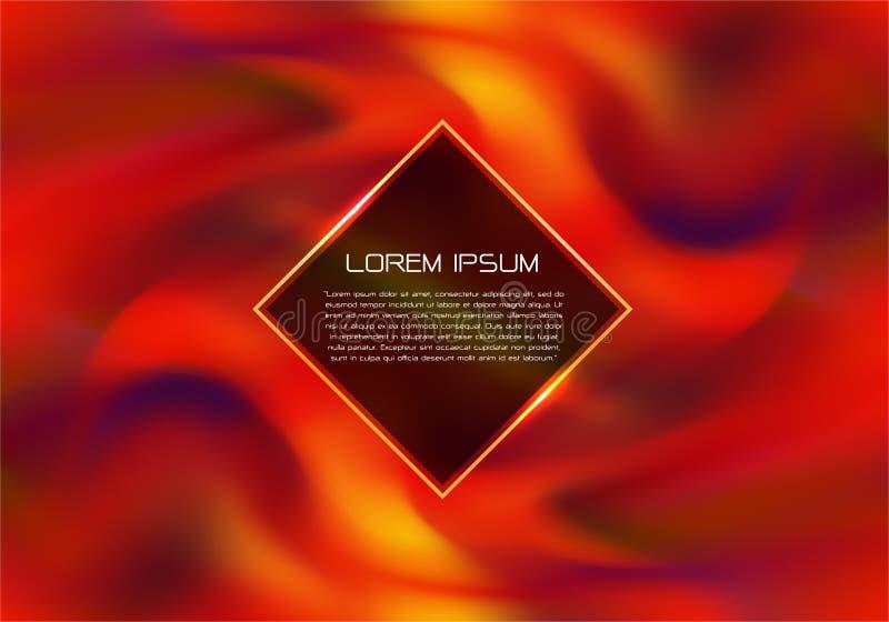 Fogo vermelho abstrato que gerencie com vetor futurista luxuoso moderno do fundo do projeto da chama e do texto do ouro ilustração do vetor