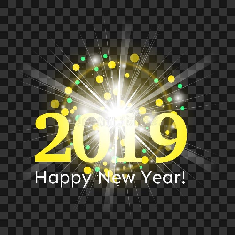 Fogos de artifício amarelos bonitos com um flash brilhante do ano novo feliz 2019 da luz e dos cumprimentos ilustração stock