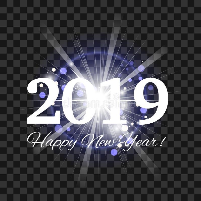 Fogos de artifício azuis bonitos com um flash brilhante da luz e do ano novo feliz 2019 das palavras ilustração stock