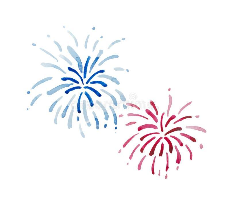 Fogos-de-artifício azuis e vermelhos ilustração do vetor