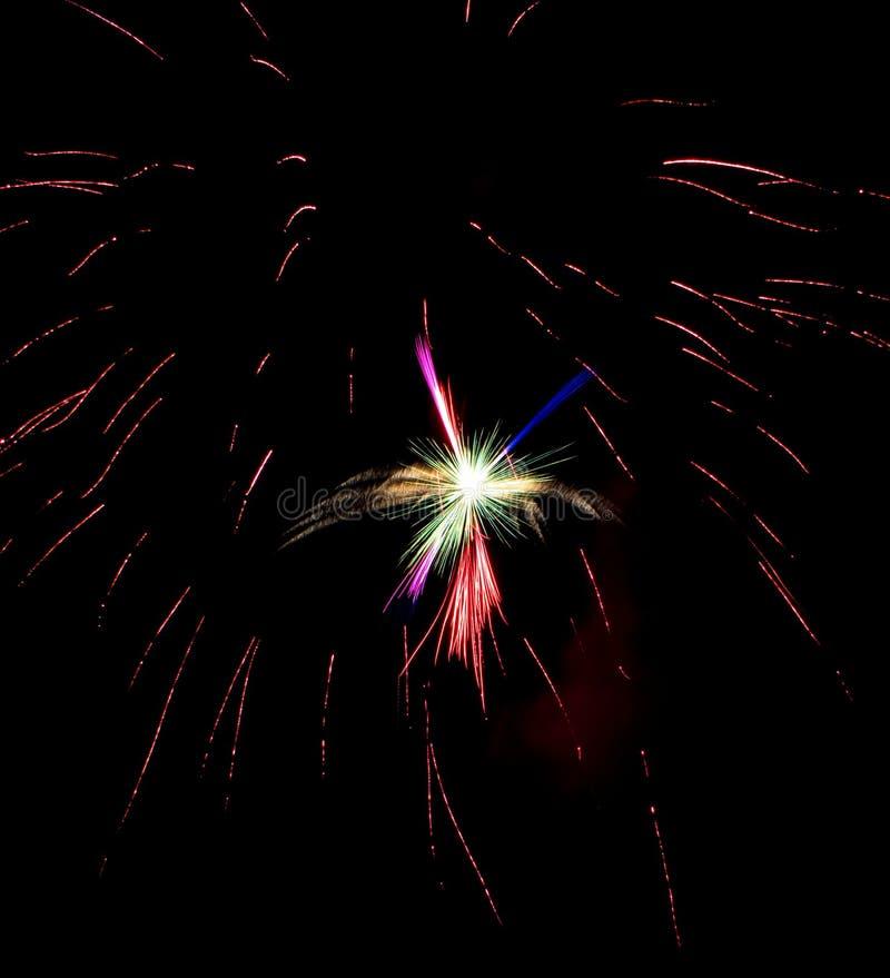 Fogos-de-artifício azuis de prata cor-de-rosa verdes violetas vermelhos fotos de stock
