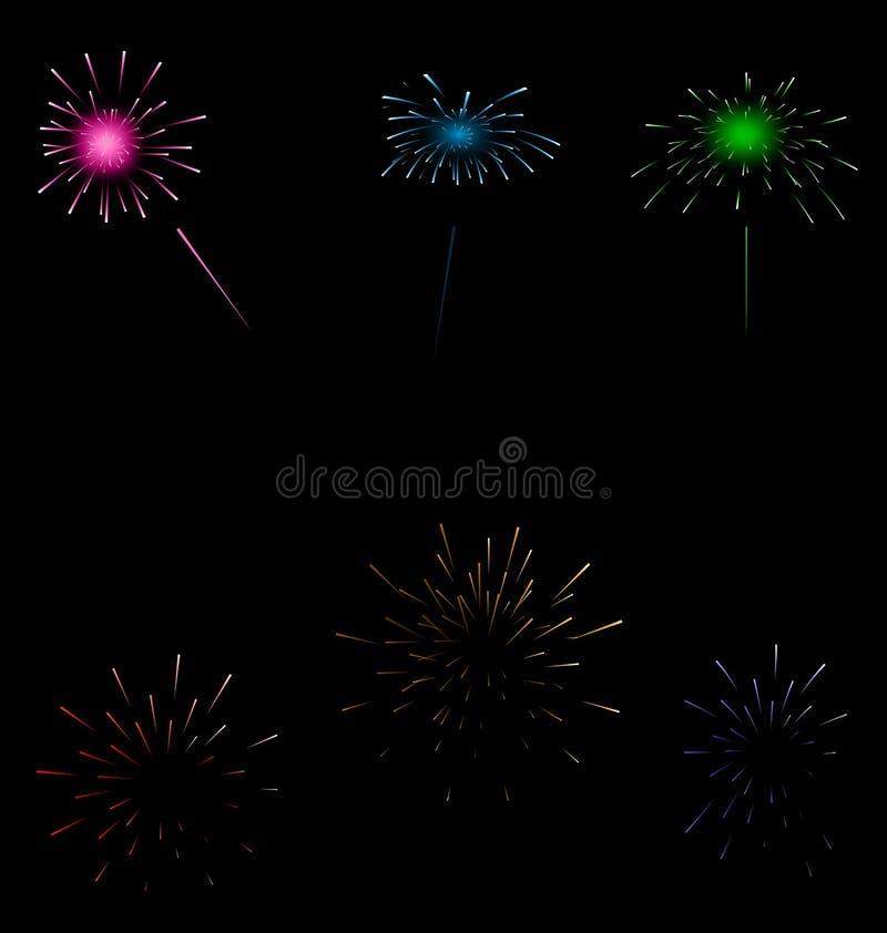 Fogos-de-artifício coloridos ajustados no fundo escuro ilustração do vetor