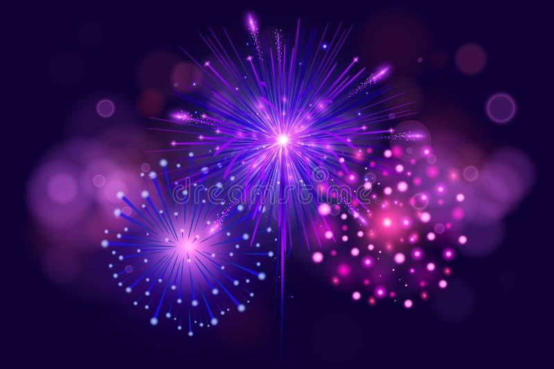 Fogos-de-artifício coloridos festivos na obscuridade - fundo azul Grupo de ilustração realística dos fogos-de-artifício do vetor  ilustração do vetor