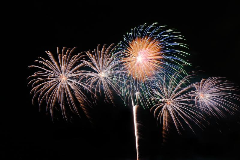 Fogos-de-artifício coloridos festivos no fundo do céu noturno Feriado comemorativo foto de stock royalty free