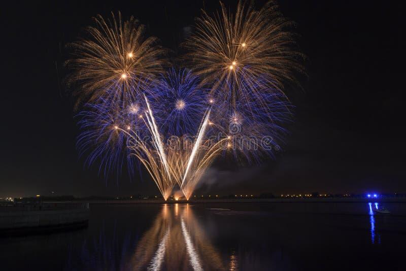 Fogos-de-artifício coloridos que explodem sobre um céu noturno escuro imagens de stock royalty free