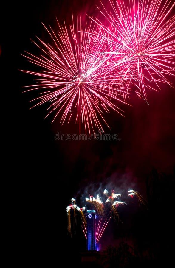 Fogos-de-artifício cor-de-rosa em Ostrava com pulso de disparo da câmara municipal fotos de stock royalty free