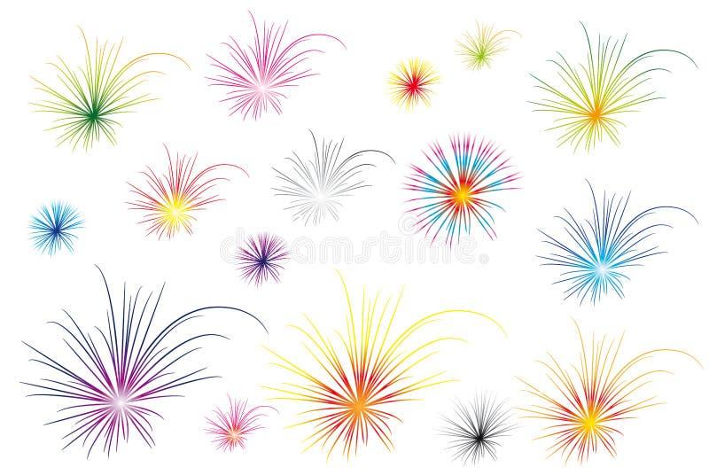 Fogos-de-artifício da cor ilustração stock