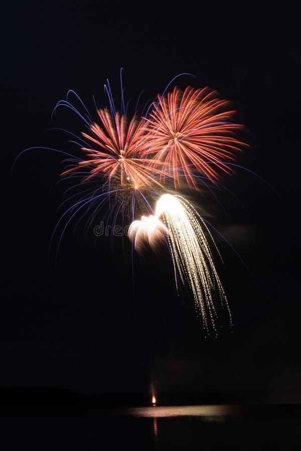 Fogos de artifício da cor em um fundo escuro imagens de stock