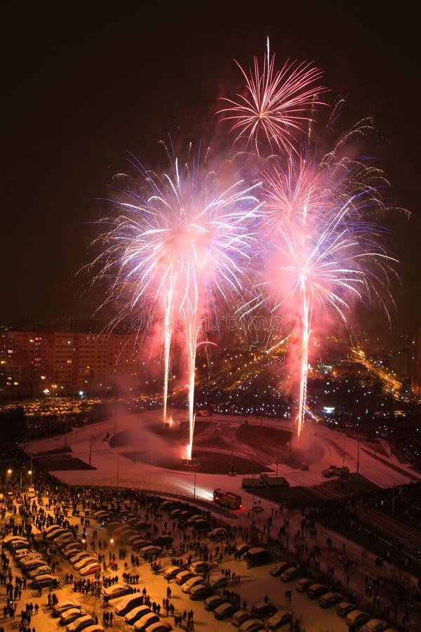 fogos-de-artifício da cor na cidade de Ostrava imagens de stock
