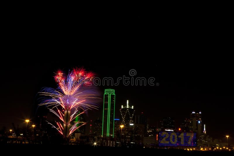 Fogos-de-artifício - Dallas Texas fotografia de stock