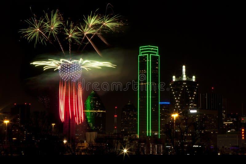 Fogos-de-artifício - Dallas Texas fotos de stock