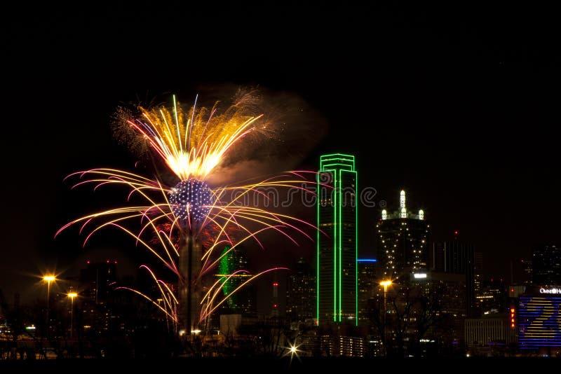 Fogos-de-artifício - Dallas Texas fotos de stock royalty free