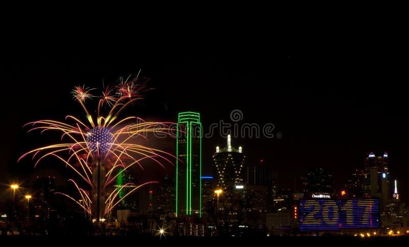 Fogos-de-artifício - Dallas Texas fotografia de stock royalty free