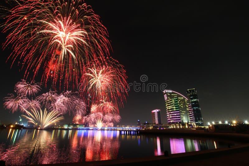 Fogos-de-artifício de DSF Dubai imagens de stock royalty free